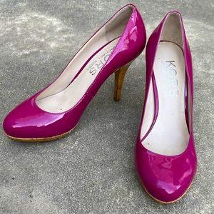 Michael Kors Cyprien Patent Cork Heels 7 1/2